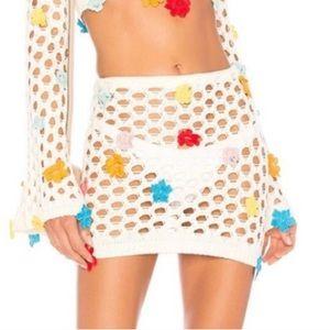 Lovers + Friends Floral Crochet Skirt